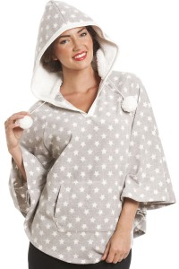 Star Printed Fleece Poncho