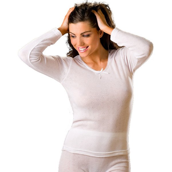 New womens ladies white thermal underwear long sleeved for White long sleeve tee shirt womens