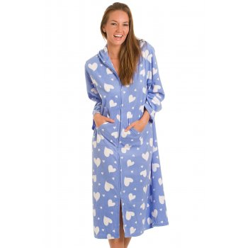 New Womens Ladies Blue White Heart Long Zip Up Dressing Gown Bath ...