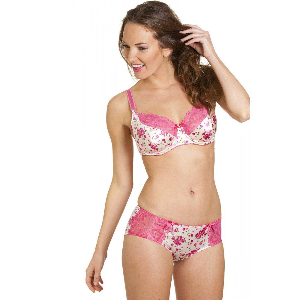 New Womens Ladies Lingerie Underwear Pink Floral Underwired ...
