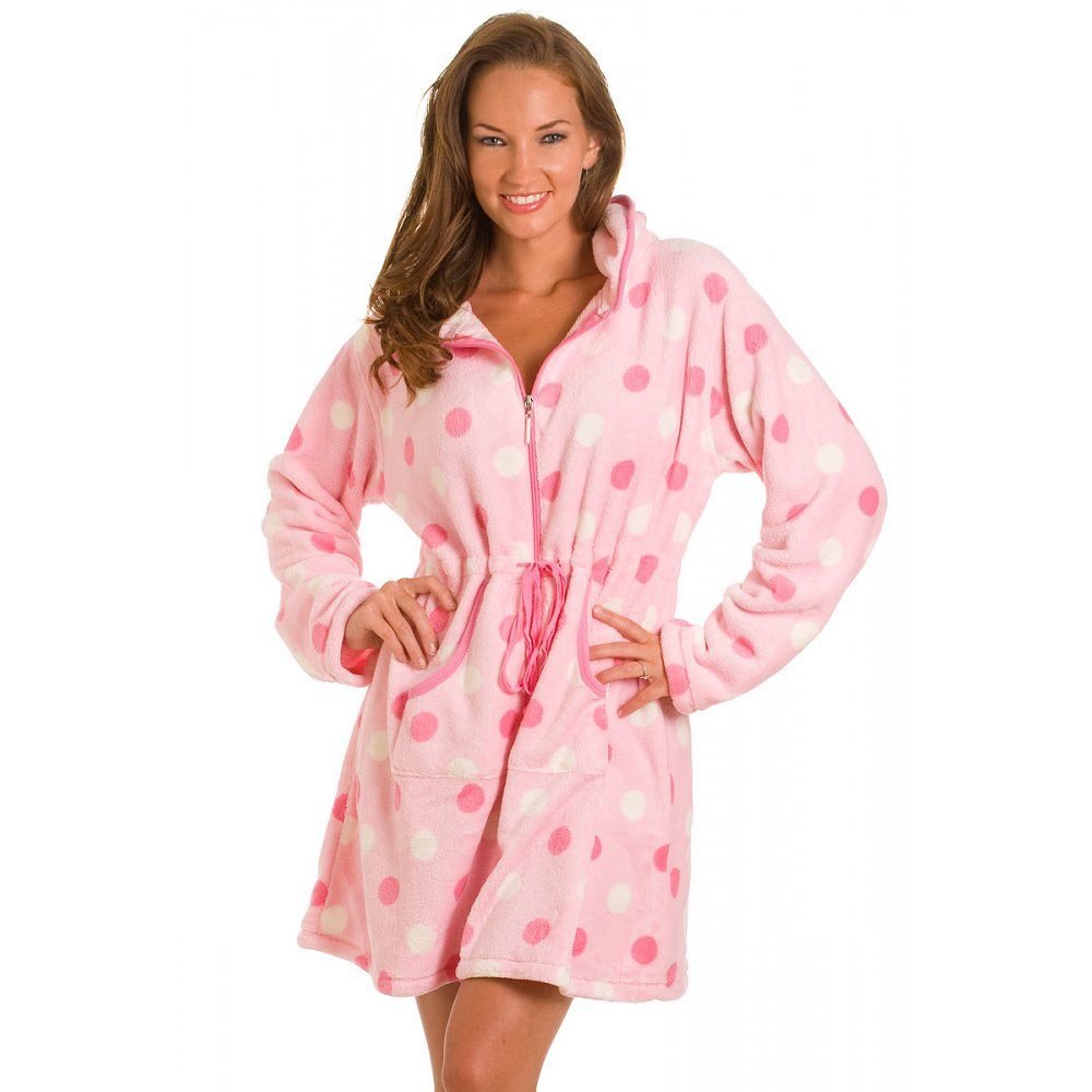new womens ladies short pink polka dot zip up bath robe dressing gown size 10 18 ebay. Black Bedroom Furniture Sets. Home Design Ideas