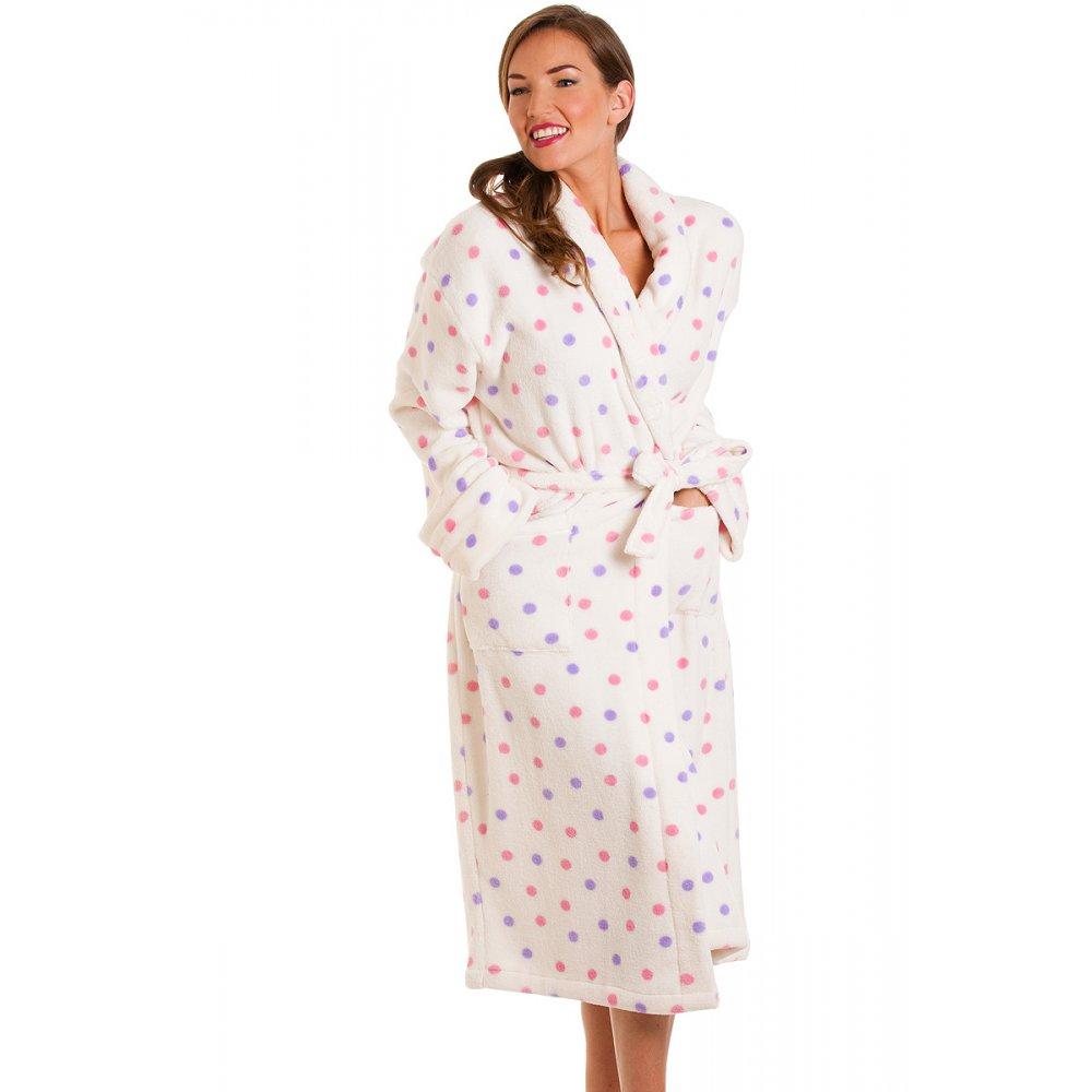 New Womens Ladies Pink Purple Polka Dot Bath Robe Dressing ...