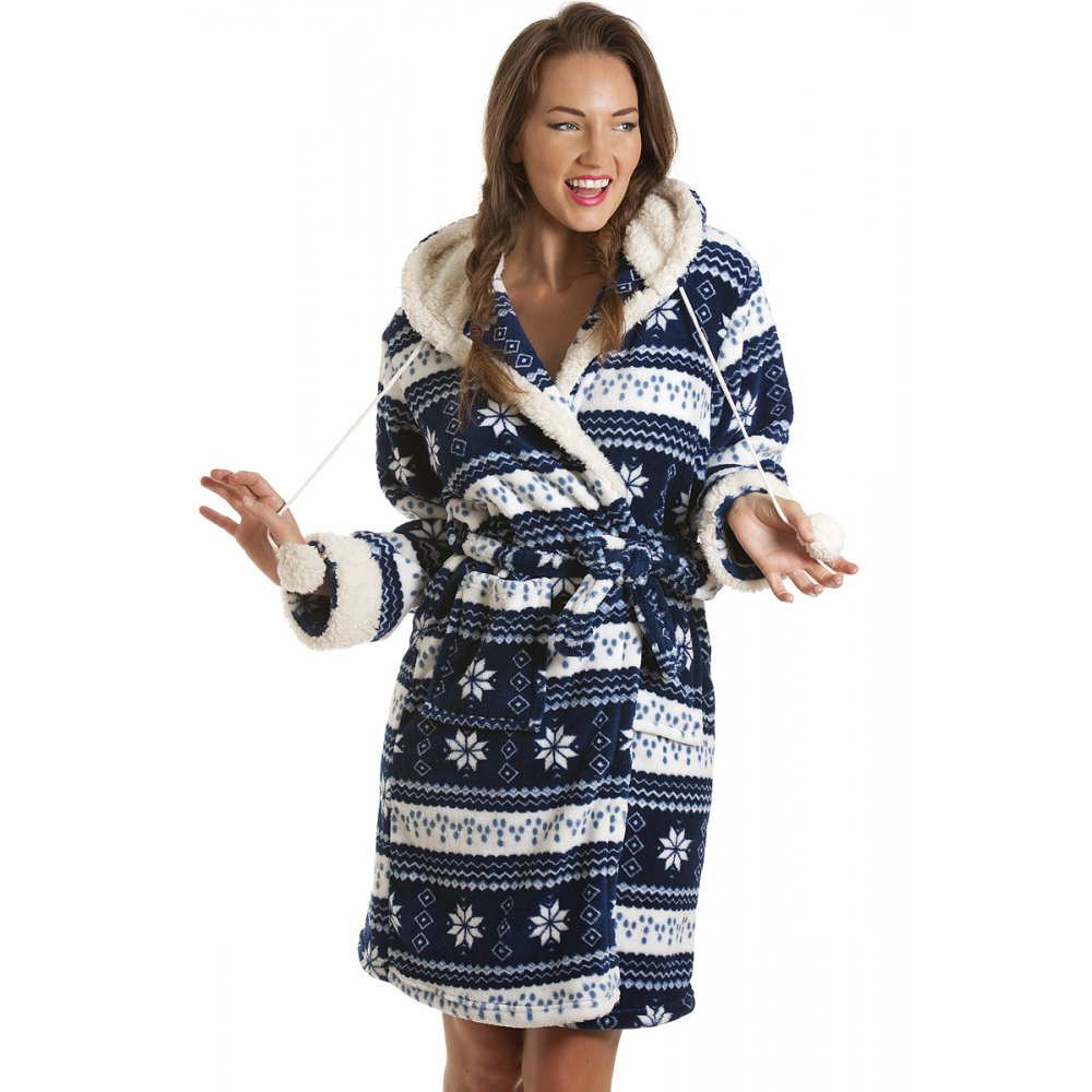 New Womens Blue Fleece Nordic Hooded Bath Robe Dressing Gown ...