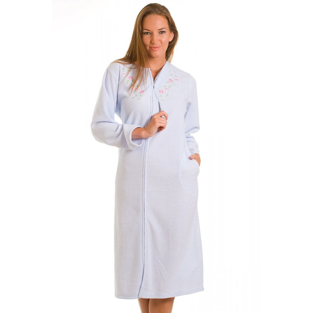 New Womens Ladies Blue Zip Up Long Housecoat Dressing Gown ...