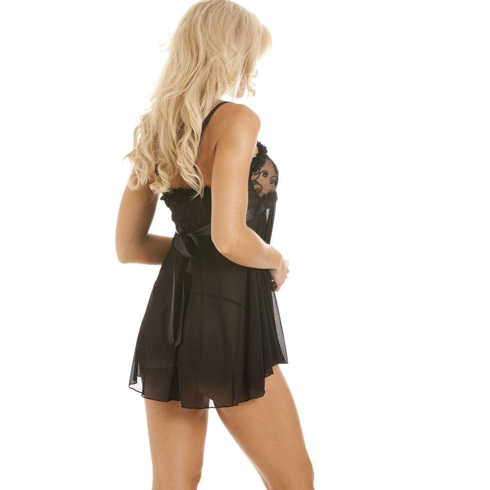 New Womens Ladies Sexy Black Lace Ribbon Babydoll Chemise ...
