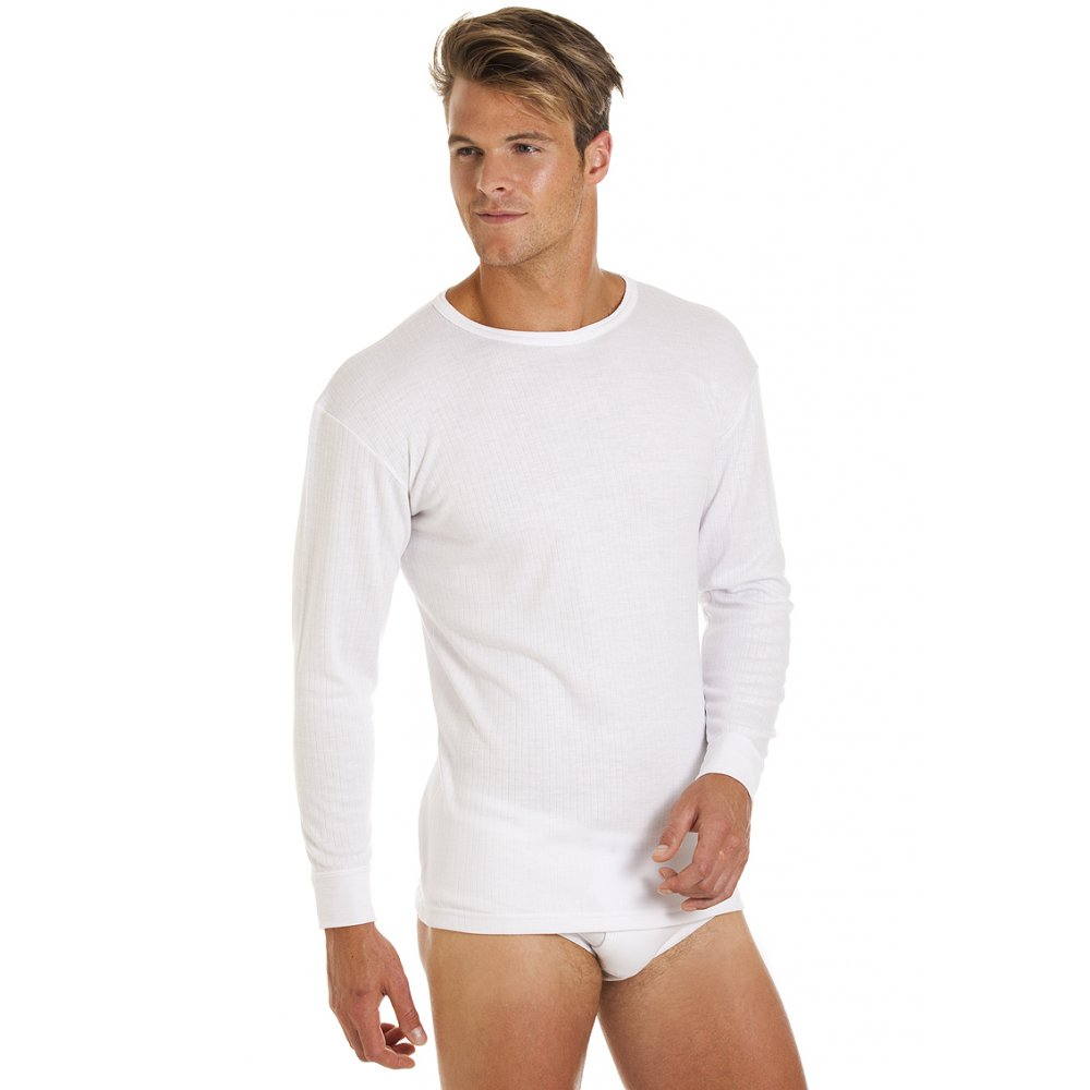New Mens Haigman Thermal Underwear White Long Sleeve T