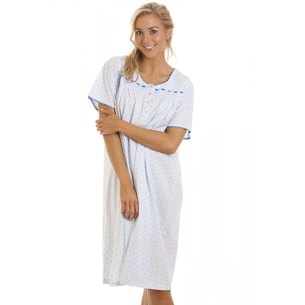 New Womens Ladies Blue Floral Nightwear Night Shirt Nighty Night ...