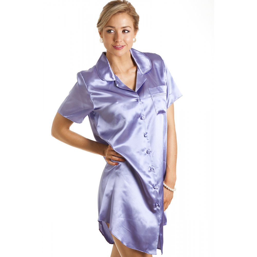 Satin Nightshirt with button front - $25 by NDK New York. The accompanying picture says its all. This womens nightshirt is full length with five evenly spaced buttons.