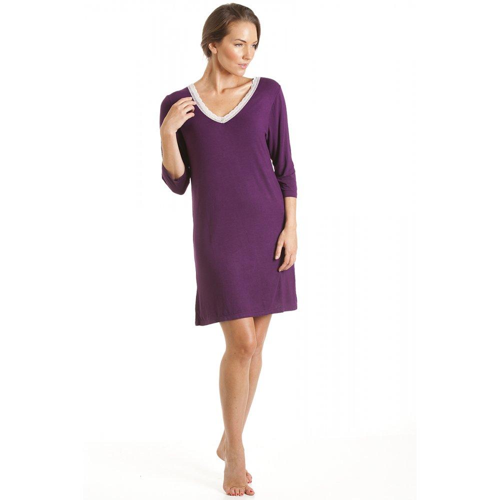 chemise de nuit hauteur genoux femme prune pourpre taille 38 48 ebay. Black Bedroom Furniture Sets. Home Design Ideas