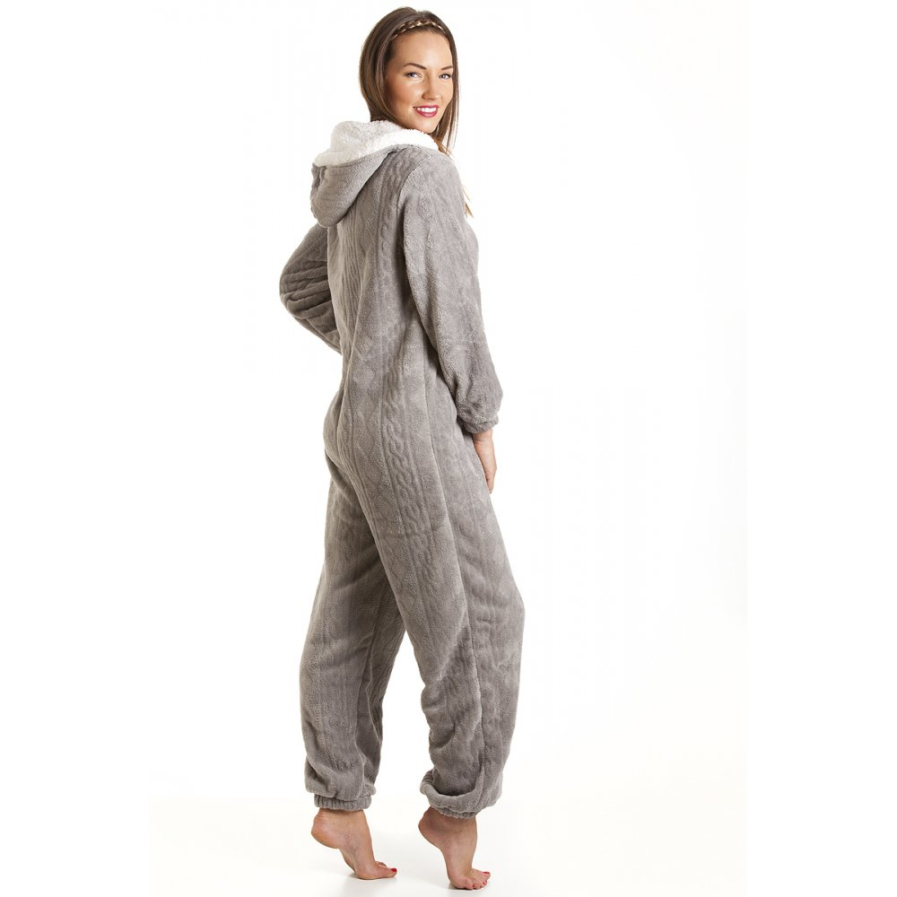 combinaison pyjama capuche en polaire ultra douce femme gris 38 48 ebay. Black Bedroom Furniture Sets. Home Design Ideas