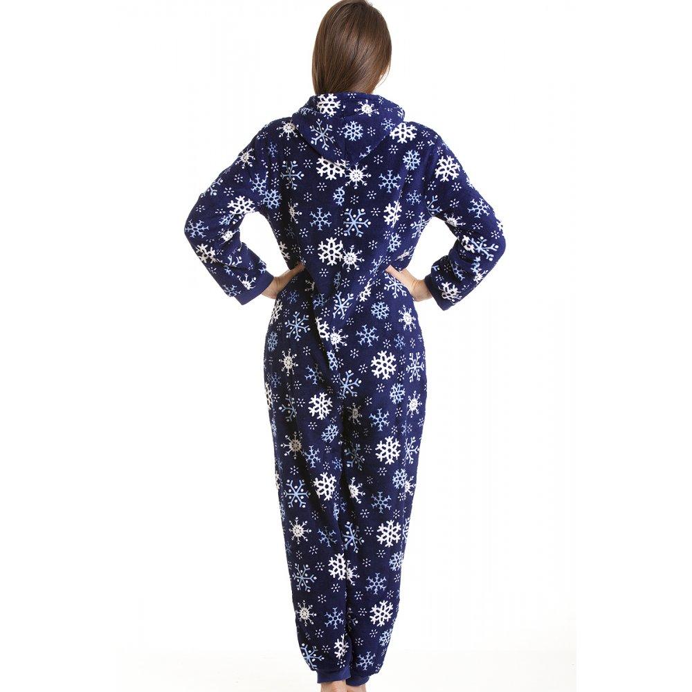 combinaison pyjama capuche motif flocon de neige femme. Black Bedroom Furniture Sets. Home Design Ideas