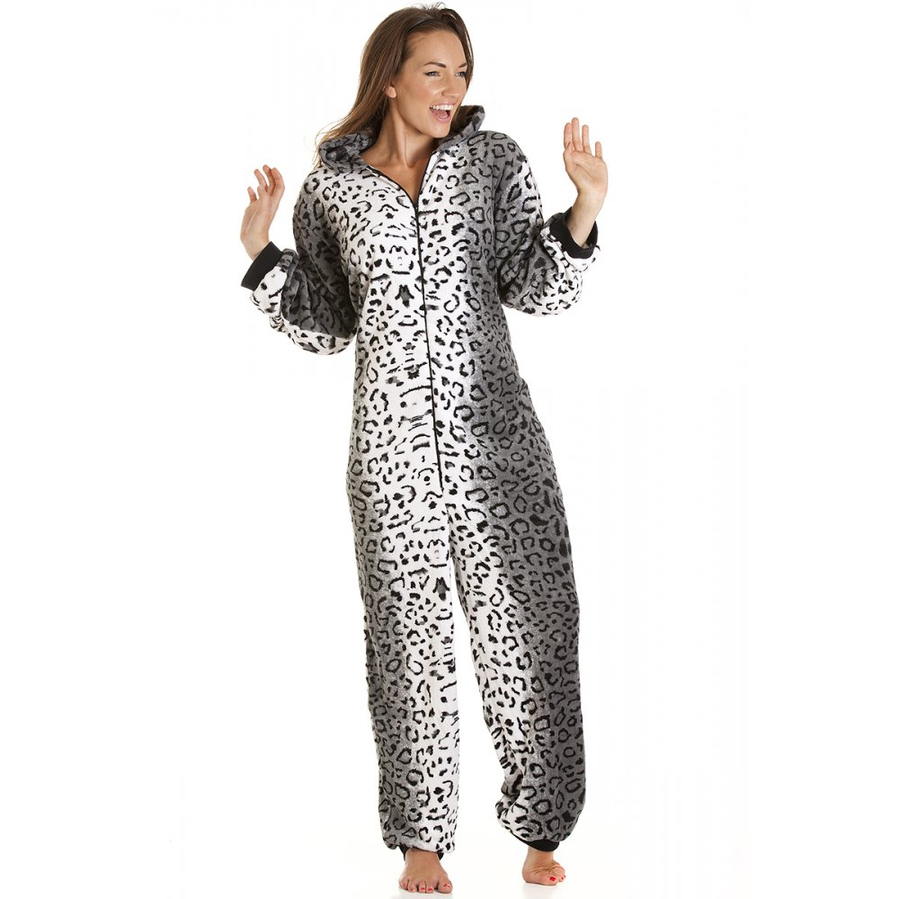 Camille Womens Ladies Gray Snow Leopard Cat All in One Onesie Fleece ...