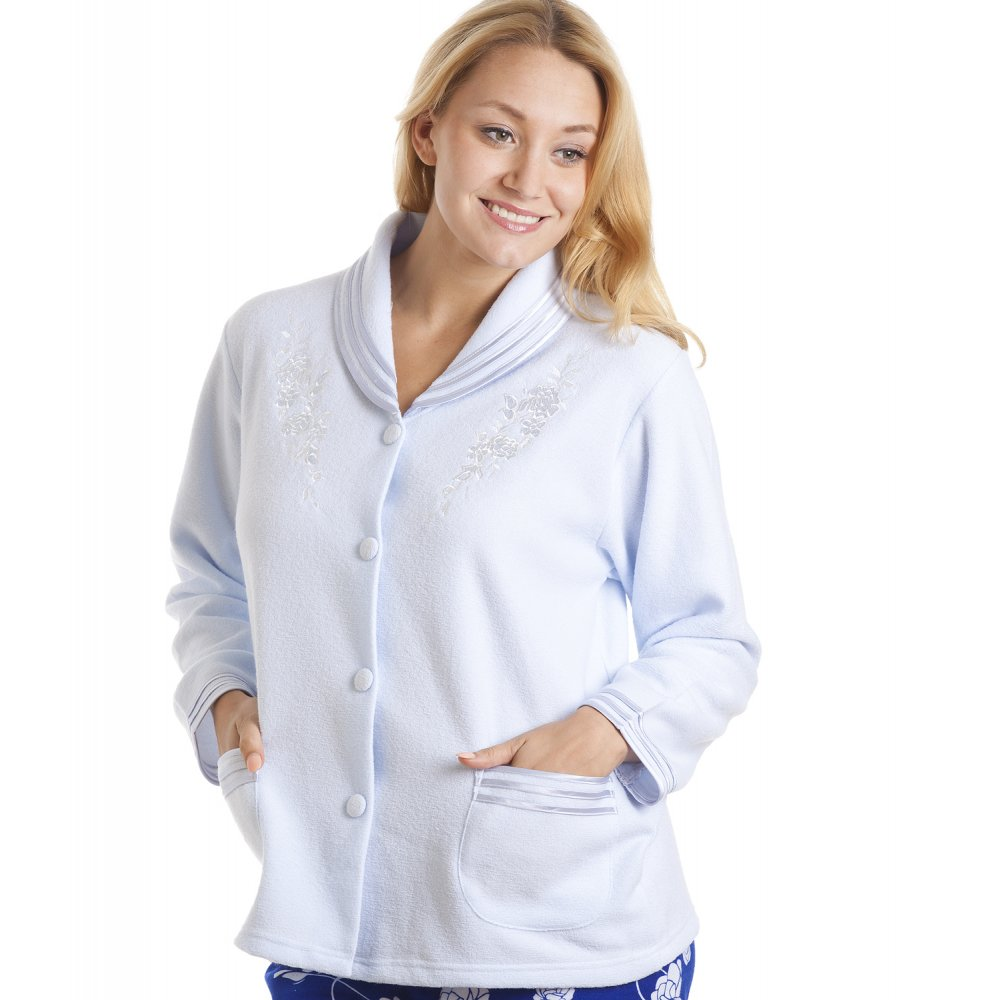 Camille Womens Ladies Nightwear Luxury Light Blue Button Up Bed Jacket  eBay -> Tabé Camille