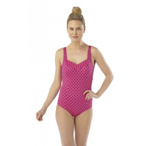 Camille Pink and Black Polka Dot Pleated Swimsuit