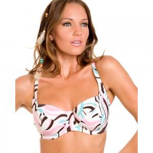 Camille White and Pastel Coloured Swirl Print Bikini Top