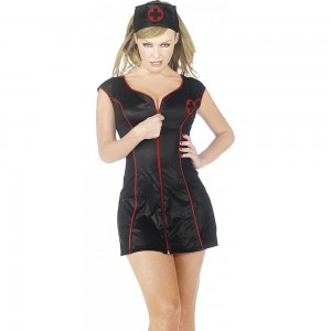 Womens Ladies Sexy Seductive Black Zip Front Nurse Fancy Dress Costume