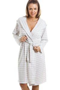 Grey and White Striped Dressing Gown
