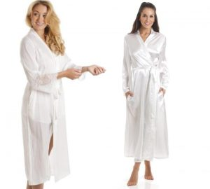 Bridal Lingerie, Wedding Nightwear, Lingerie Solutions, White Satin Dressing Gown
