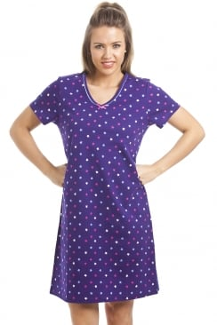 100% Cotton Multi-Coloured Star Print Purple Nightdress