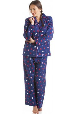 100% Cotton Scotty Dog Print Full Length Wincy Pyjama Set