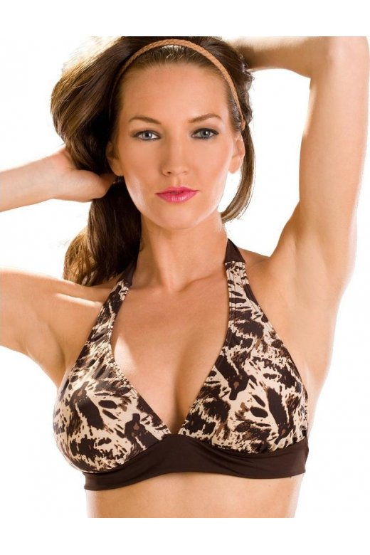 Animal Print Ladies Padded Halter Neck Bikini Top