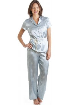 Aqua Blue Polka Dot Tie Belt Satin Pyjama Set