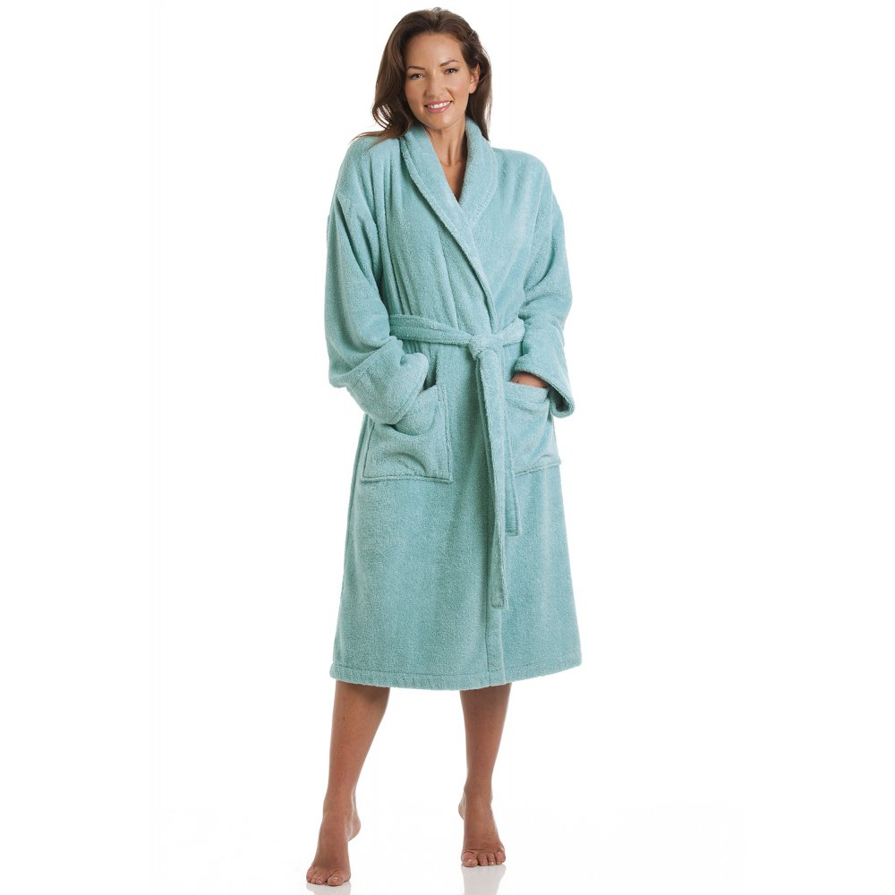 Bathrobe: Turquoise Blue Shawl Collar Cotton Towelling Bathrobe