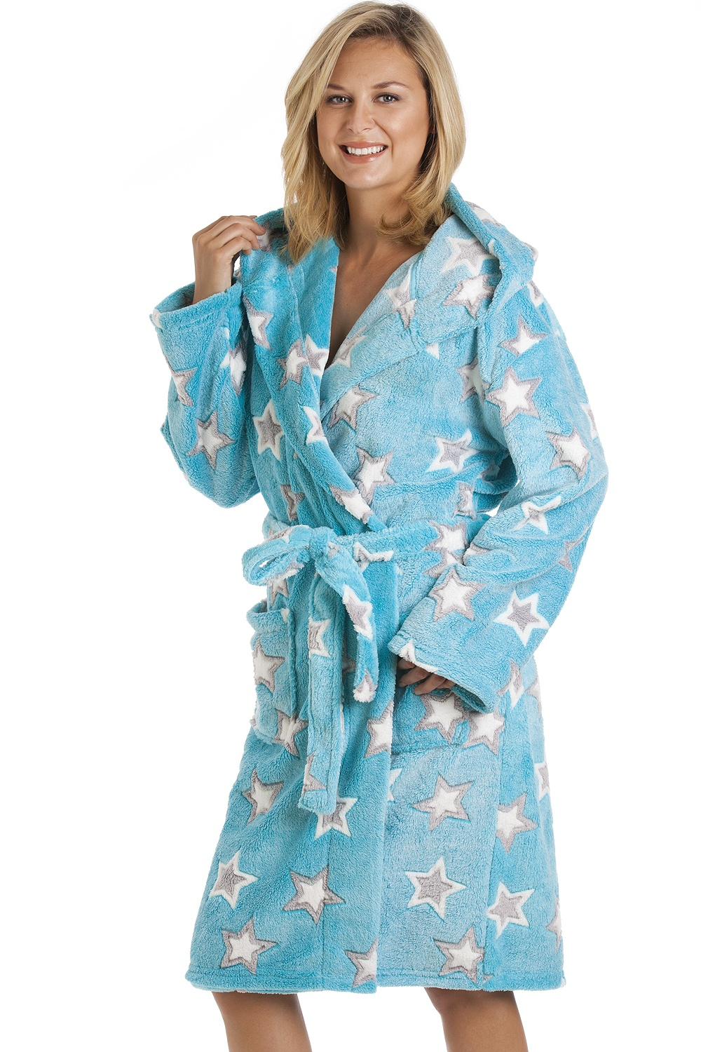 Aqua Blue Supersoft Fleece Star Print Bathrobe