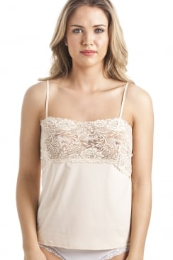 Beige Floral Lace Trim Camisole Top