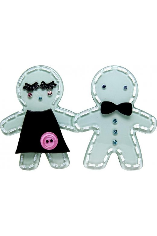 Camille Big Baby Blue Gingerbread Brooch Pin