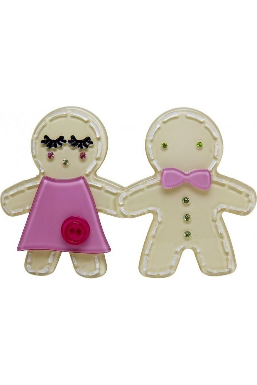 Camille Big Baby Stone Grey Gingerbread Man Brooch Pin