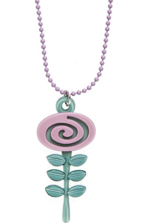 Camille Big Baby Womens Ladies Fashion Jewellery Lilac And Aqua Blue Acrylic Flower Necklace