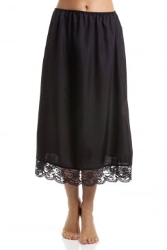 Black 32'' Half Length Lace Trim Under Skirt Slip