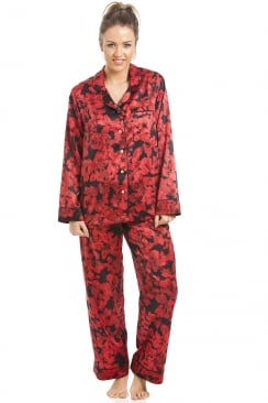 Black And Red Floral Satin Pyjama Set