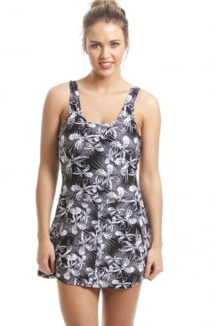 Black And White Floral Skirted Swimsuit