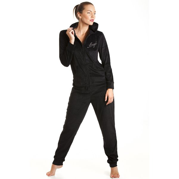 womens ladies luxury black angle velvet hooded all in one onesie pyjama size 8 22. Black Bedroom Furniture Sets. Home Design Ideas