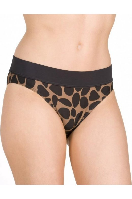 Black Animal Print Brown Bikini Bottoms