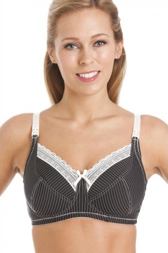 Black & Cream Pinstripe Womens Nursing Bra Size 32D-38H