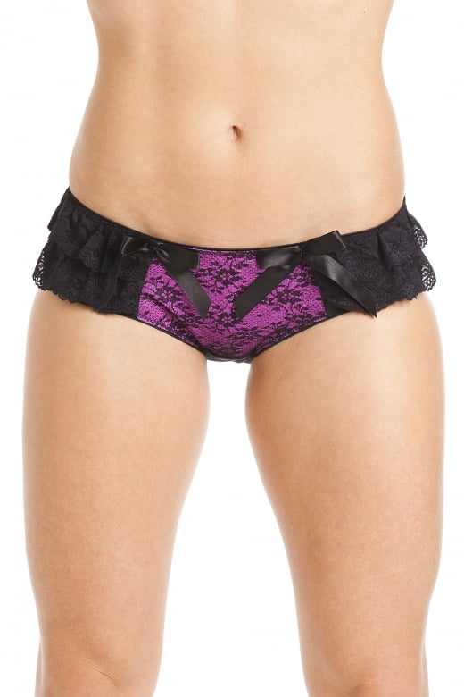 Black Floral Lace Mesh Fuchsia Pink Boxer Shorts