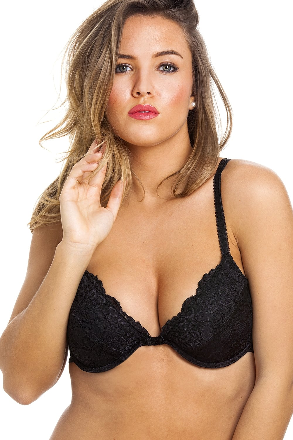 a9fef84870633 Camille Womens Ladies Black Push Up Plunge Paddded Underwired Bra Size  34A-40G