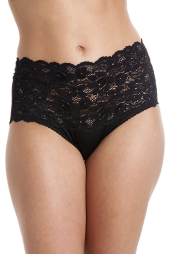 Black High Waist Floral Lace Maxi Briefs