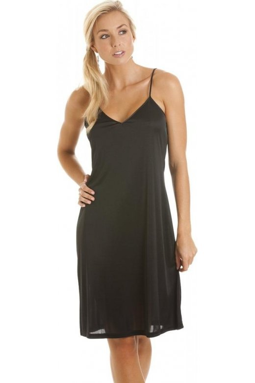 Camille Black Knee Length Full Slip Chemise