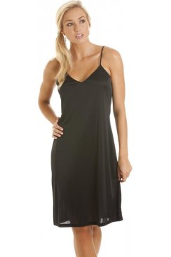 Black Knee Length Full Slip Chemise