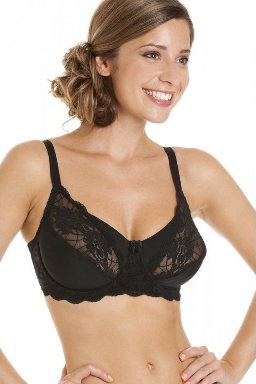Camille Womens Ladies Classic Comfort Fit Black Underwired Full Lace Bra