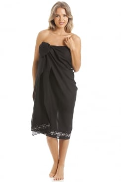 Black Long Length Sarong With Floral Embroidery
