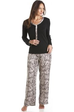 Black Modal And Satin Snake Skin Print Pyjama Set