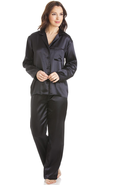 77b80e067d576 Black Satin Full Length Pyjama Set