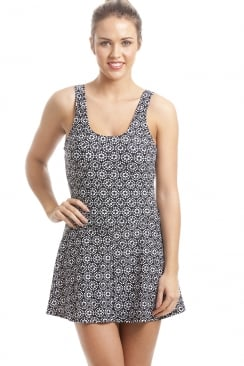 Black Skirted Swimsuit With White Geometric Design