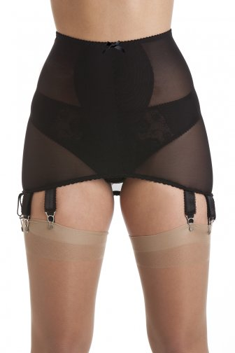 Black Stretch Mesh Girdle Suspender Belt 12 Strap