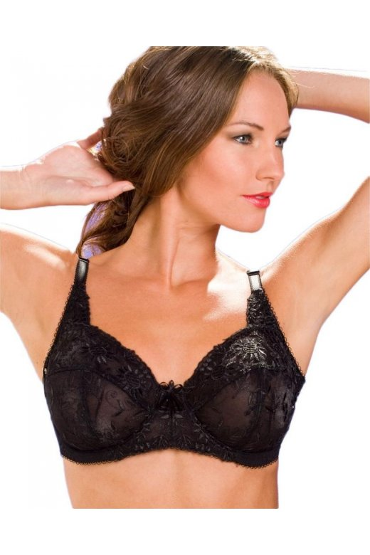 Black Underwired Non Padded Lace Full Cup Bra